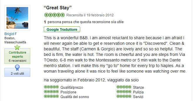 Recensione del Bed and Breakfast i Visconti di Napoli