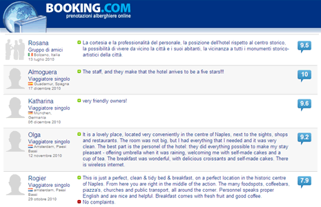 Our Bed and breakfast in Naples is recommended by our guests