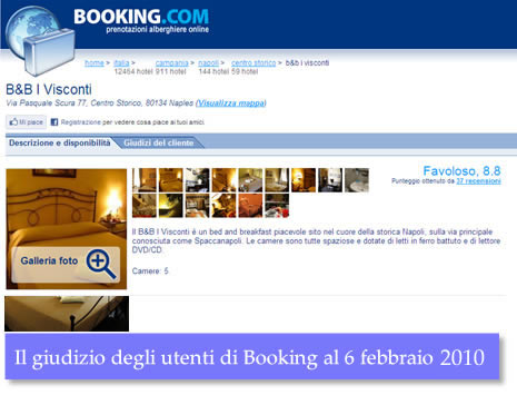 Booking.com users have nice words about our bed and breakfast in Naples